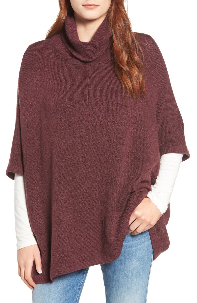 CASLON<SUP>®</SUP> Cowl Neck Sweater Poncho, Main, color, BURGUNDY FIG