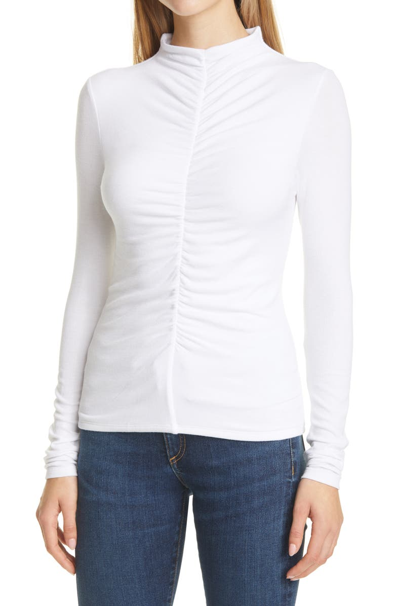 VERONICA BEARD Theresa Ruched Mock Neck Top, Main, color, WHITE