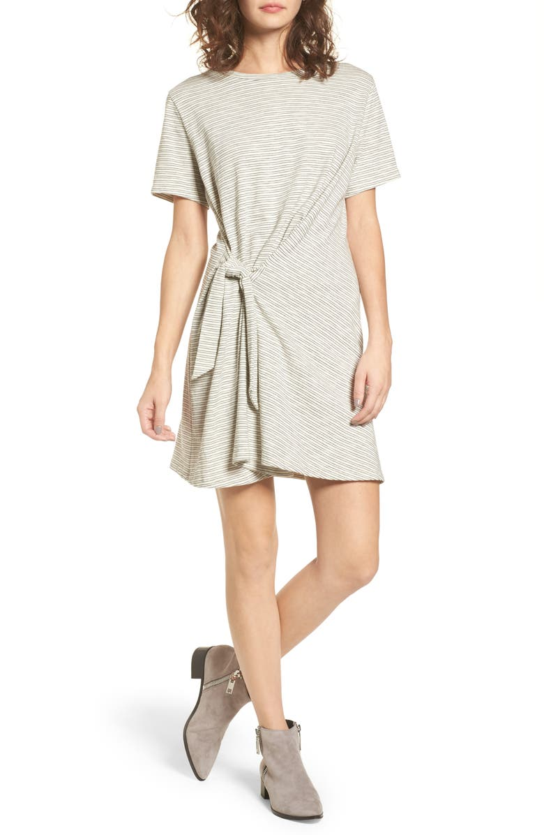 ALL IN FAVOR Side Knot Tee Dress, Main, color, IVORY/ BLACK STRIPE