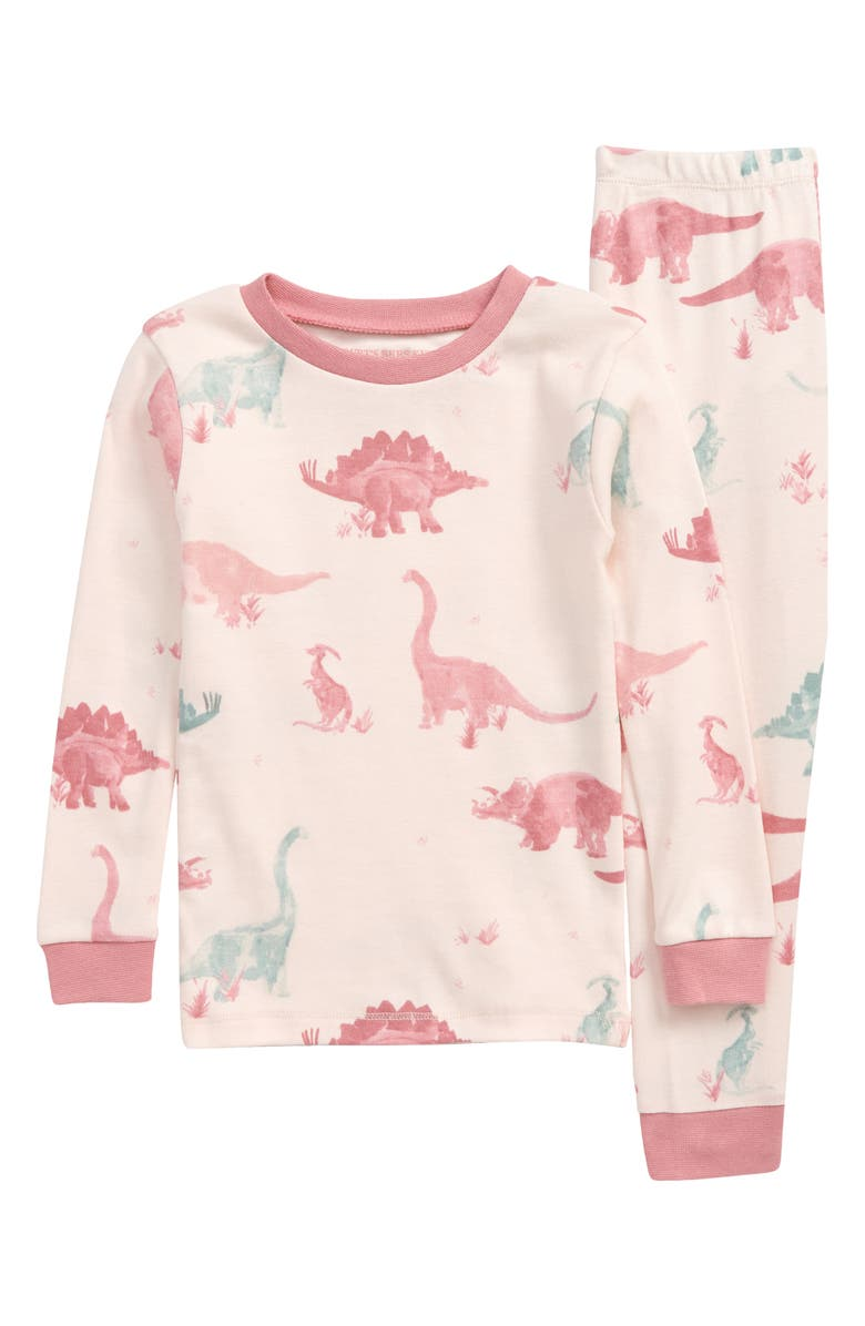 BURT'S BEES Kids' Jurassic Territory Print Fitted Cotton Two-Piece Pajamas, Main, color, WILD ROSE