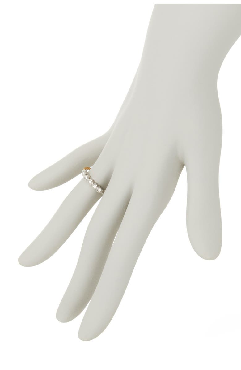 ALOR 18K White Gold & Yellow Stainless Steel Cable Diamond Row Ring - Size 6.5 - 0.11 ctw, Main, color, 18KT WG