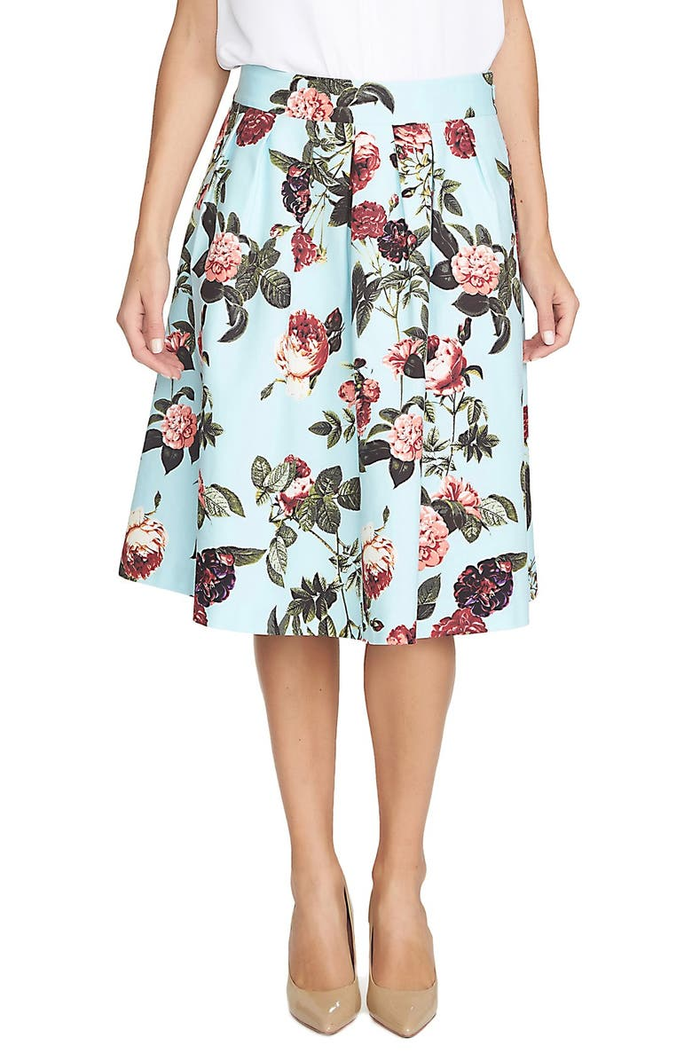 CECE by Cynthia Steffe 'Bouquet Estate' Floral Print Full Skirt, Main, color, 473
