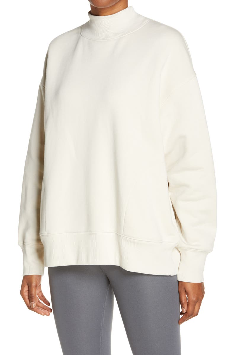 ALO Refresh Mock Neck Sweatshirt, Main, color, BONE