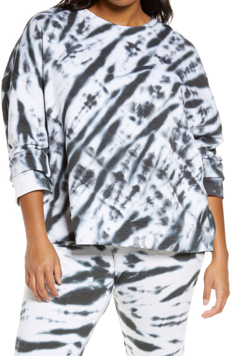 ZELLA Coastal Tie Dye Sweatshirt, Main, color, Black