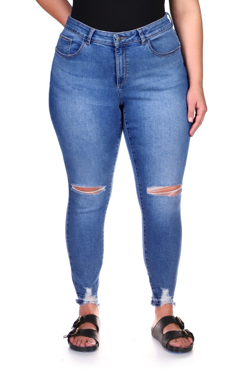DL 1961 Florence Distressed Ankle Crop Skinny Jeans, Main, color, RIP TIDE
