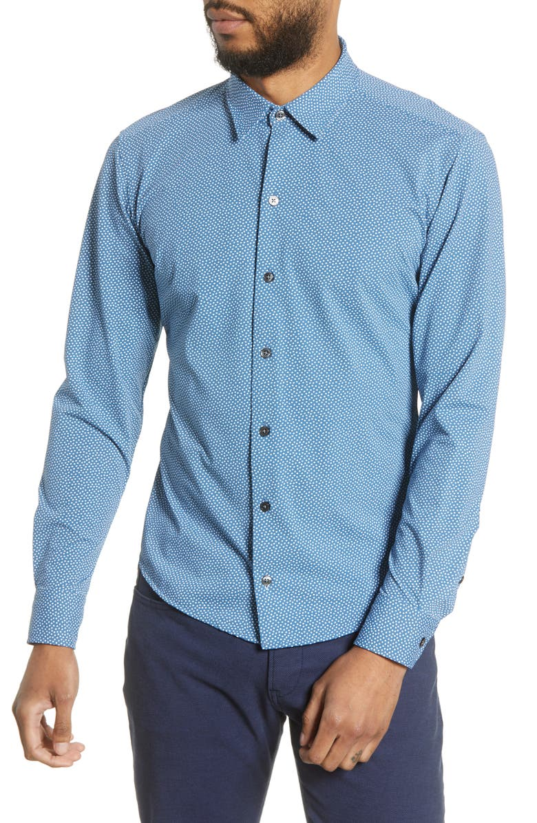 BOSS Robbie Slim Fit Micro Print Stretch Button-Up Shirt, Main, color, 465