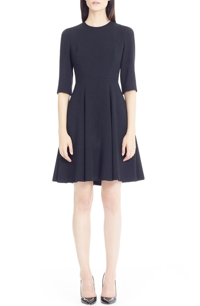DOLCE&GABBANA Elbow Sleeve Cady Fit & Flare Dress, Main, color, Black