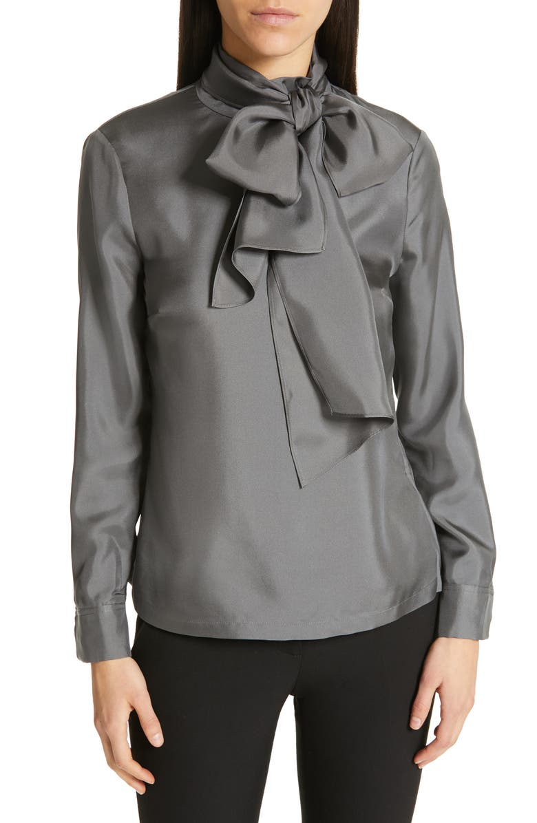 TED BAKER LONDON Marther Tie Neck Silk Blouse, Main, color, 020