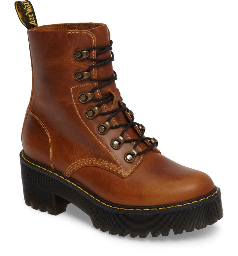 DR. MARTENS Leona Heeled Boot, Main, color, BUTTERSCOTCH