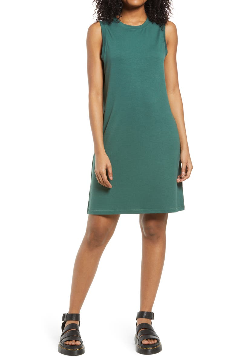 BP. French Terry Tank Dress, Main, color, GREEN TREKKING