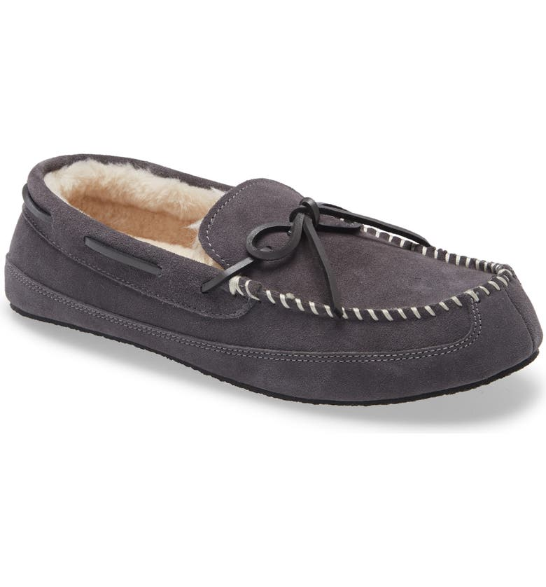 NORDSTROM Max Moccasin Slipper, Main, color, GREY SUEDE