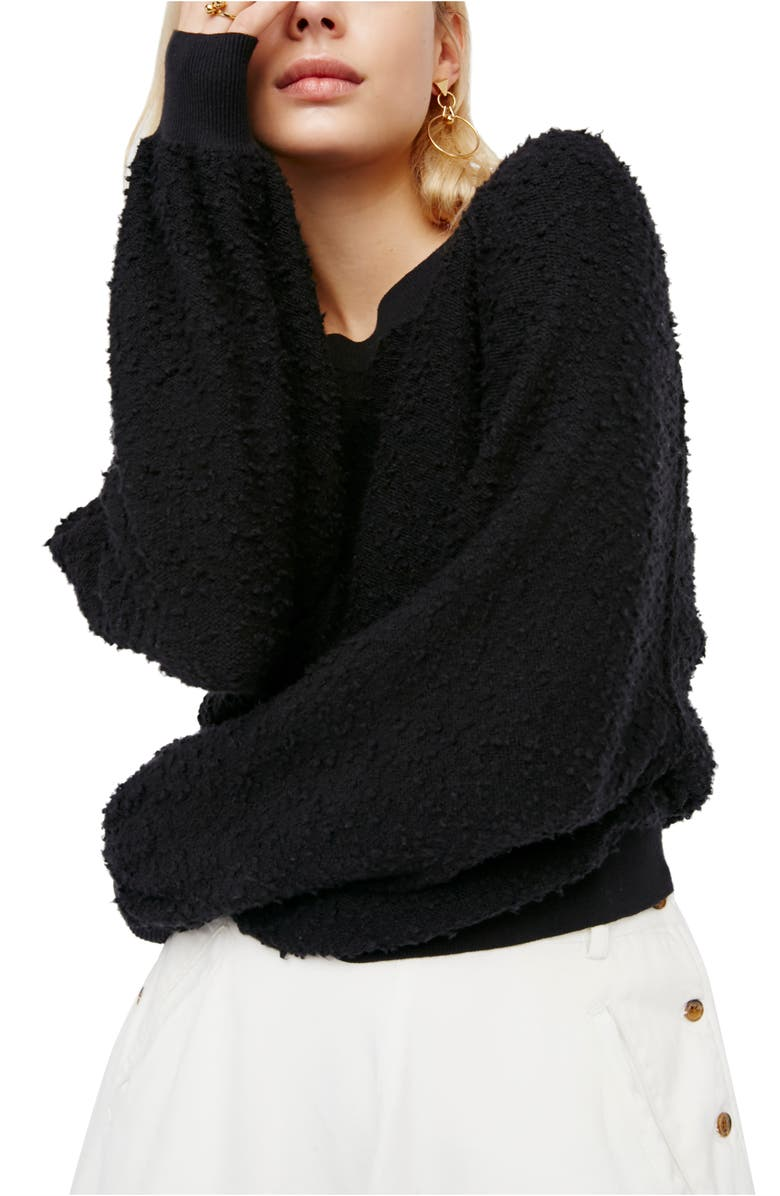 FREE PEOPLE Found My Friend Bouclé Pullover, Main, color, BLACK