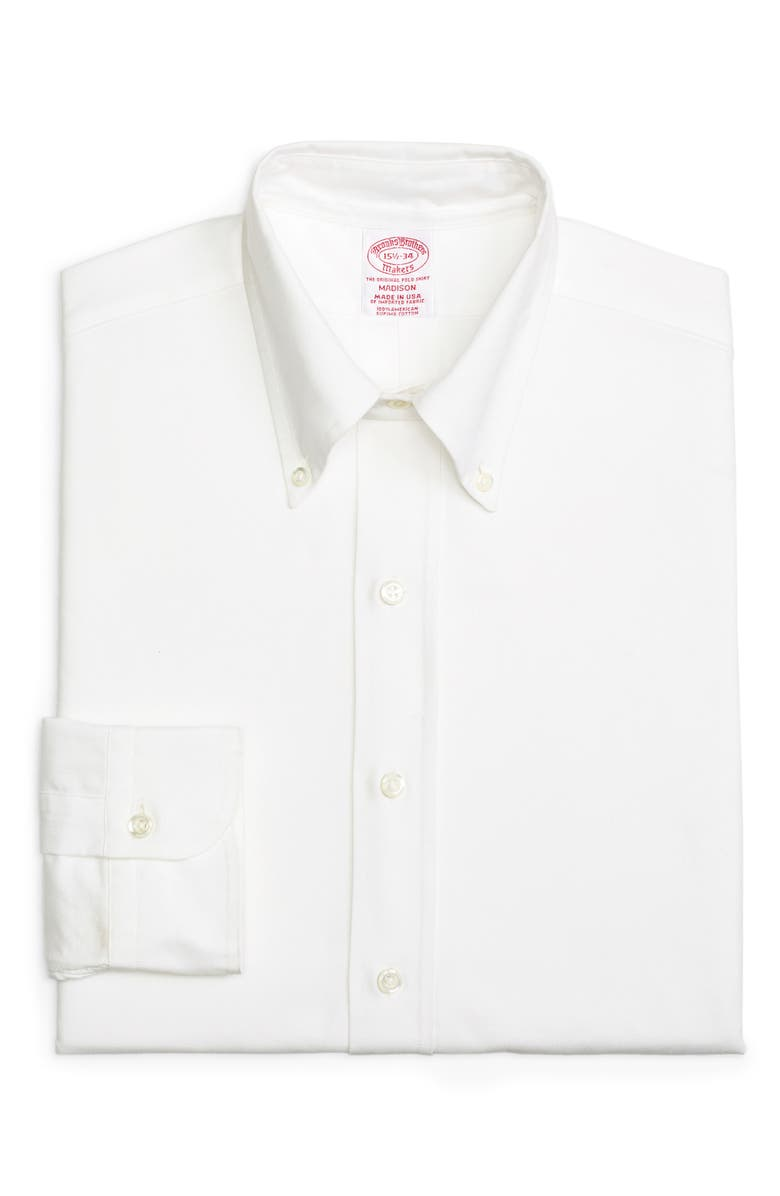 BROOKS BROTHERS Madison Classic Fit Solid Dress Shirt, Main, color, 100