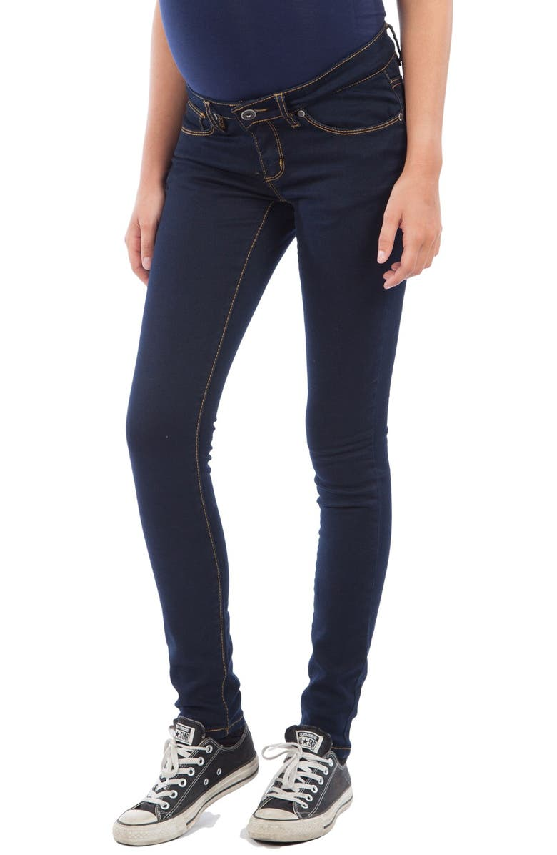 MODERN ETERNITY Skinny Maternity Jeans, Main, color, DARK BLUE WASH