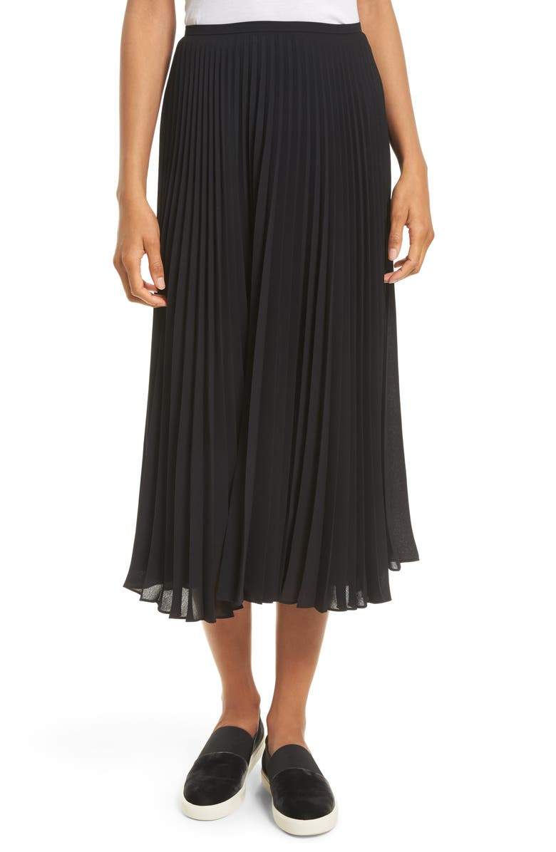 VINCE Pleated Chiffon Midi Skirt, Main, color, 001