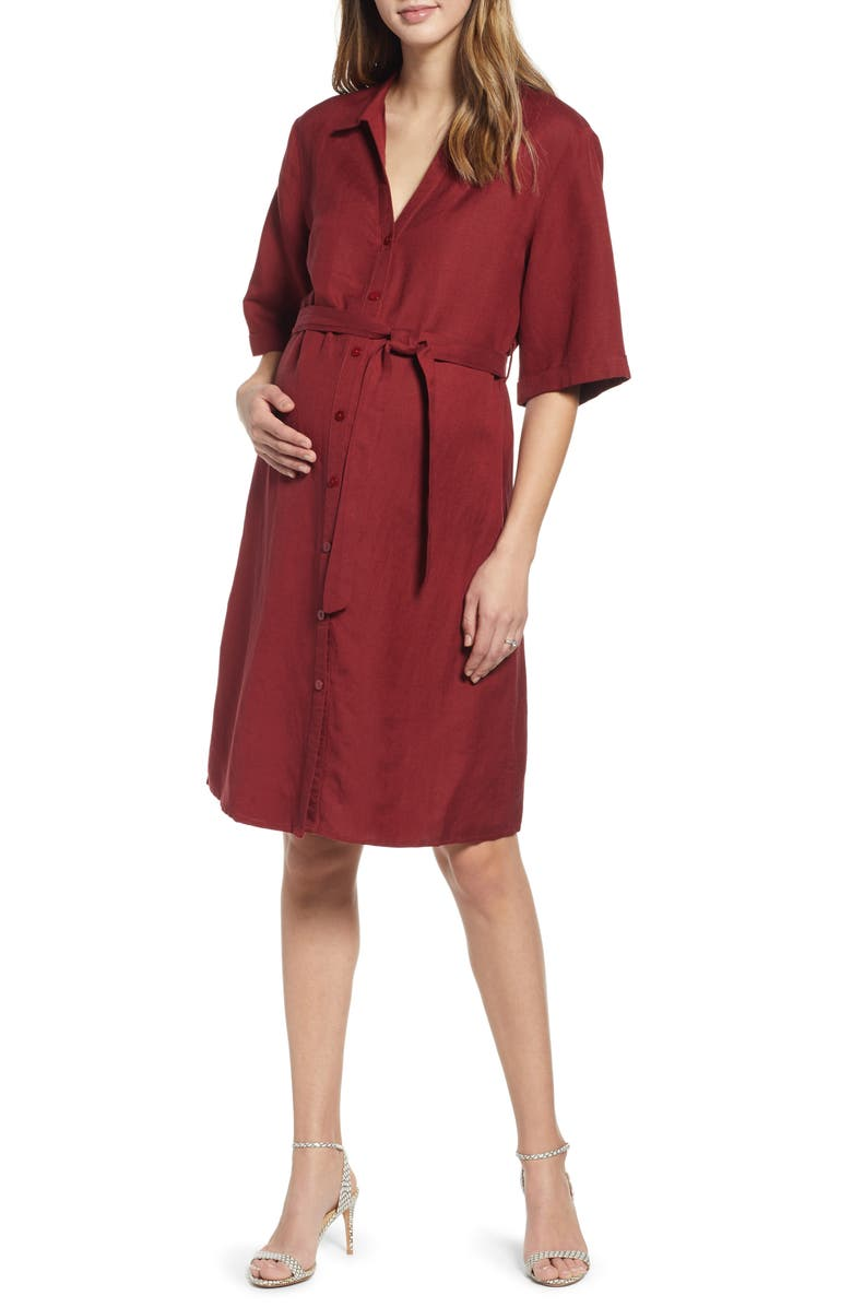 ANGEL MATERNITY Belted Linen Blend Maternity Shirtdress, Main, color, RED