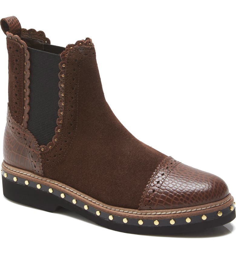 FREE PEOPLE Atlas Studded Chelsea Bootie, Main, color, CHOCOLATE SUEDE