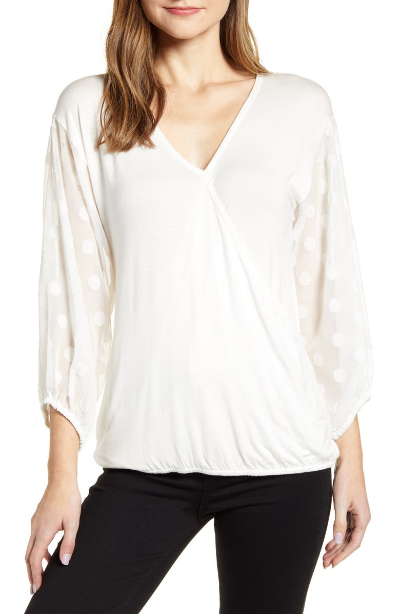 LOVEAPPELLA Dot Chiffon Sleeve Faux Wrap Top, Main, color, IVORY
