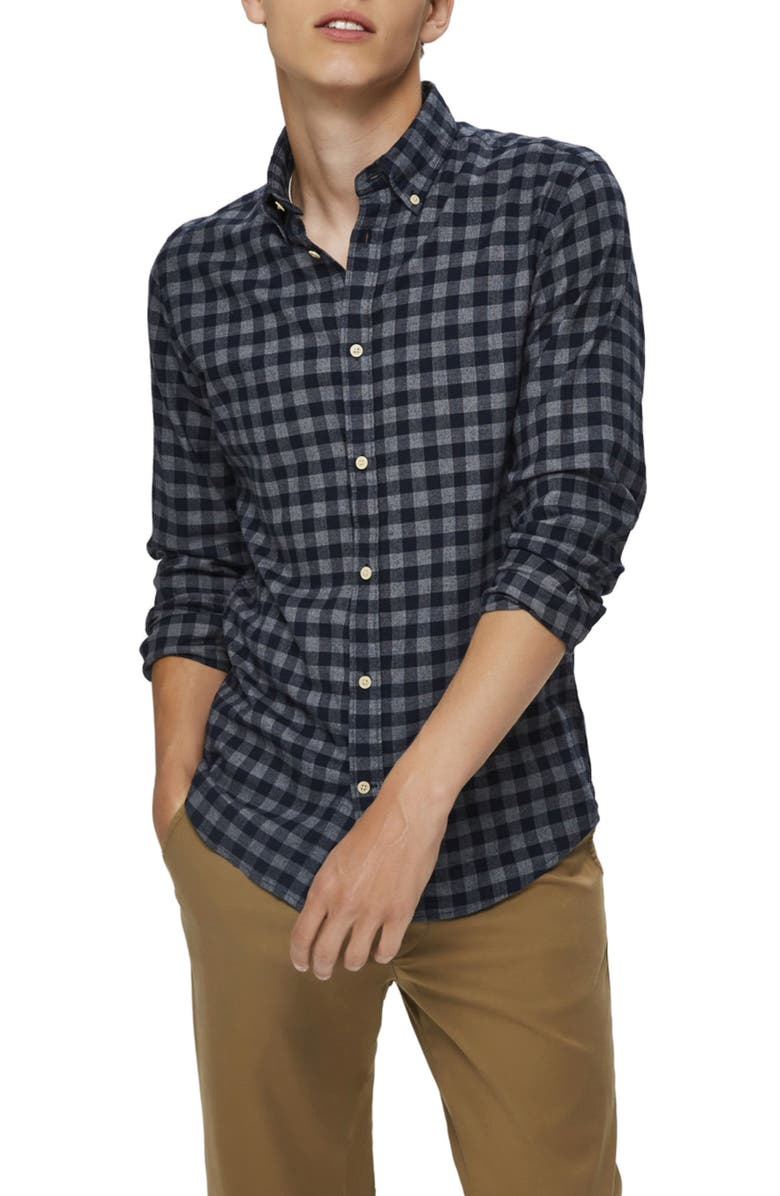 SELECTED HOMME Slim Fit Plaid Flannel Button-Down Shirt, Main, color, DARK BLUE BIG CHECK