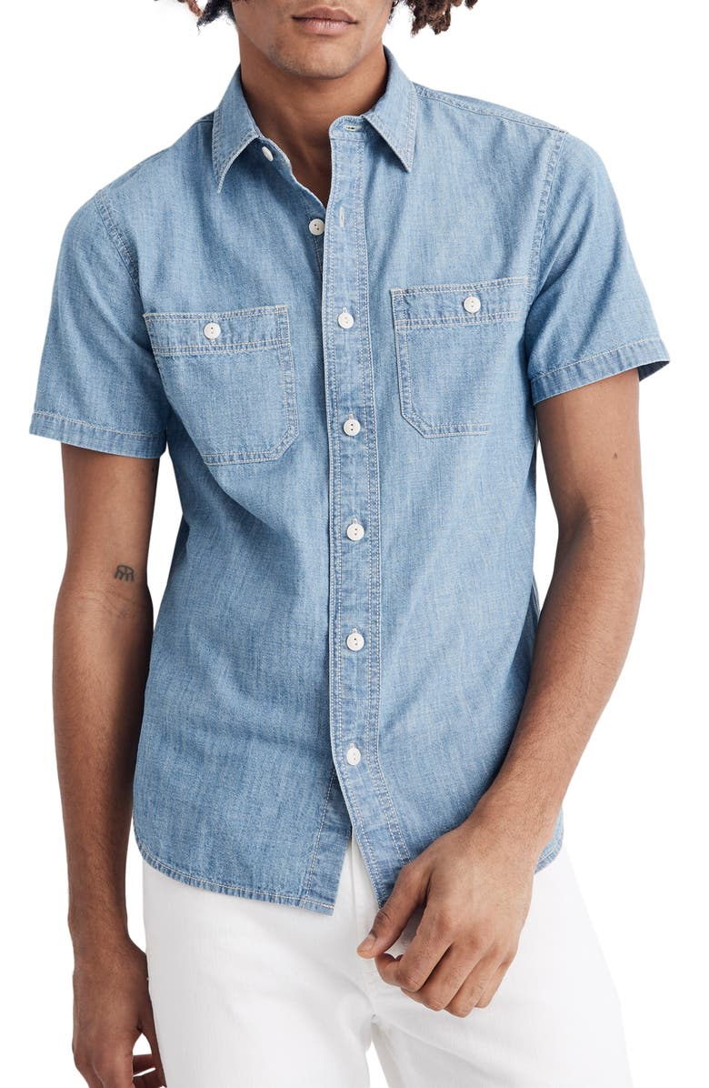 MADEWELL Slim Fit Chambray Sport Shirt, Main, color, 400