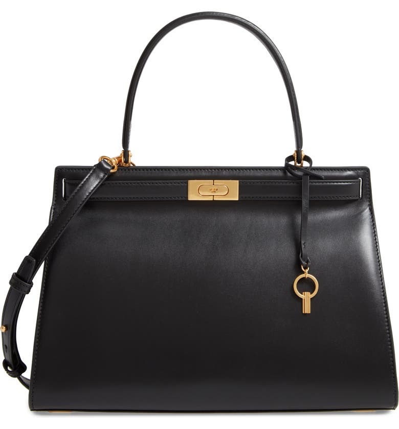 TORY BURCH Large Lee Radziwill Leather Bag, Main, color, 001