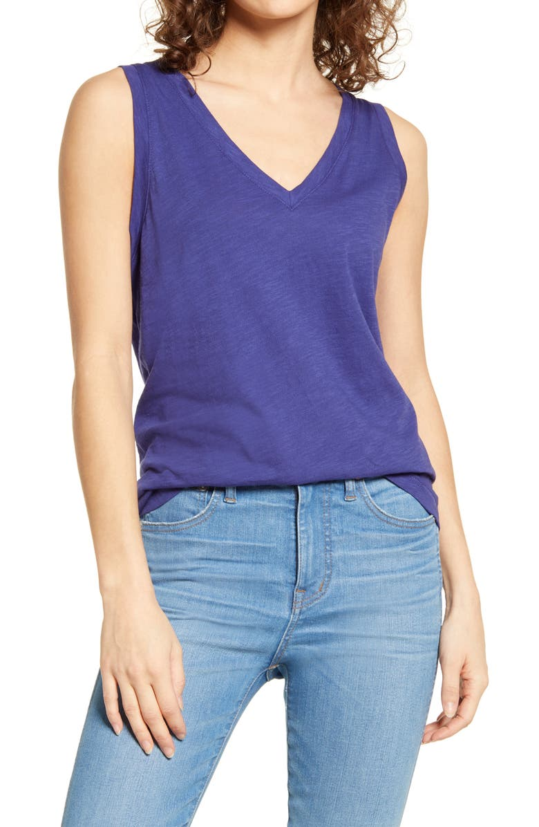 MADEWELL Whisper Shout Cotton V-Neck Tank, Main, color, TIDEWATER
