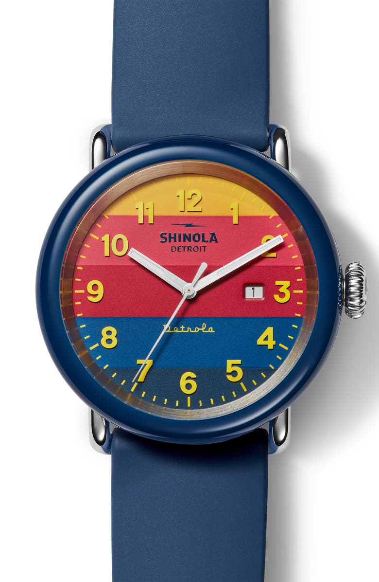 SHINOLA Detrola The Honcho Silicone Strap Watch, 43mm, Main, color, NAVY/ YELLOW/ NAVY