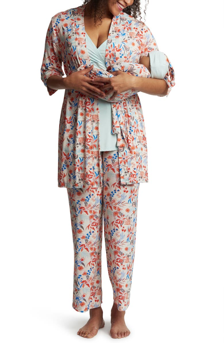 EVERLY GREY Analise During & After 5-Piece Maternity/Nursing Sleep Set, Main, color, POSY