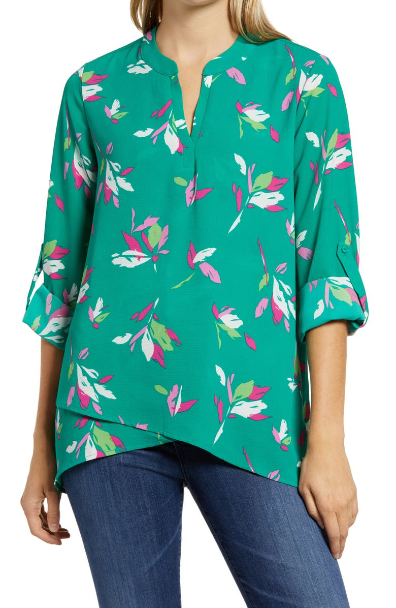 GIBSONLOOK Gibson x International Women's Day Erin Cross Front Tunic Blouse, Main, color, GREEN JOLLY LEAVES
