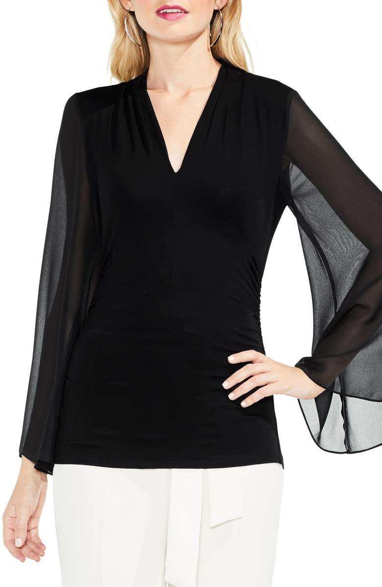 VINCE CAMUTO Bell Sleeve Side Ruched Chiffon Top, Main, color, 006