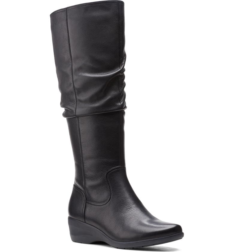 CLARKS<SUP>®</SUP> Rosely Knee High Leather Boot, Main, color, BLACK LEATHER