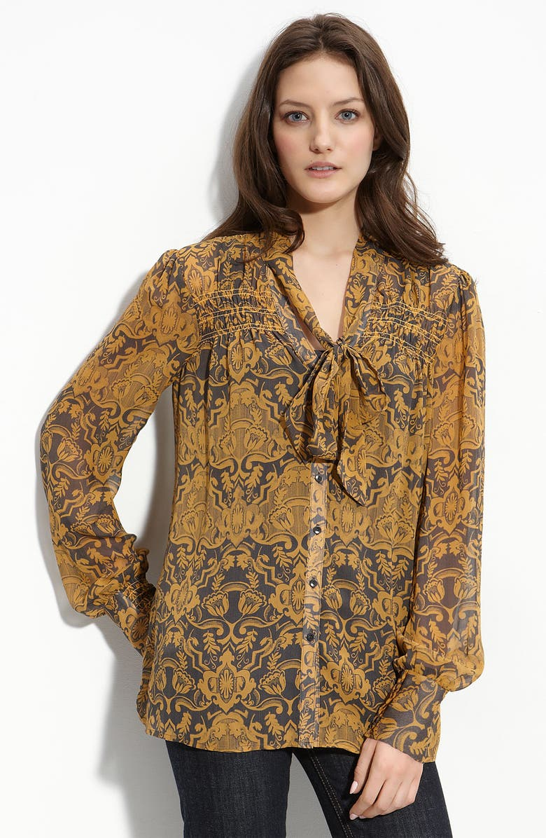 HINGE <sup>®</sup> Smocked Front Silk Blouse, Main, color, 001