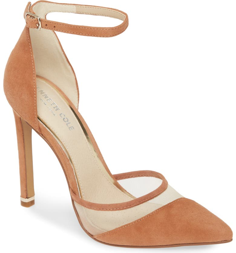 KENNETH COLE NEW YORK Riley Ankle Strap Pump, Main, color, TIRAMISU SUEDE