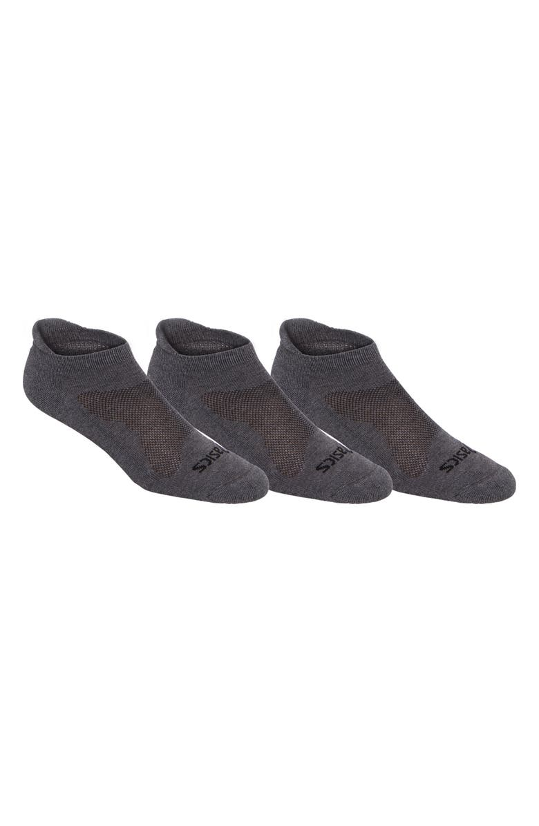 ASICS<SUP>®</SUP> 3-Pack Cushion Low Socks, Main, color, GREY HEATHER