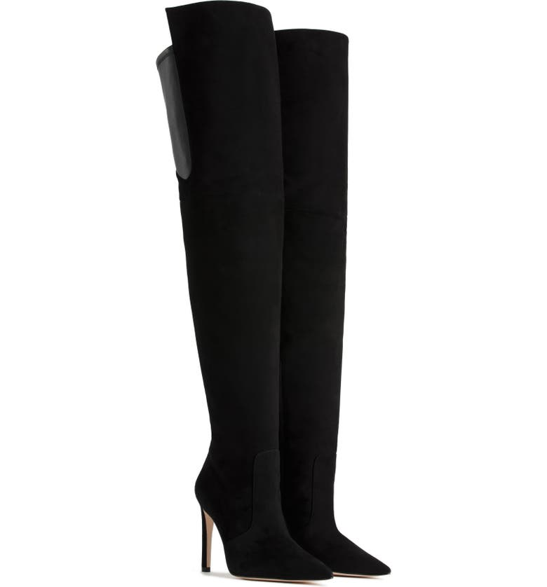GOOD AMERICAN The Emma Over the Knee Boot, Main, color, BLACK SUEDE