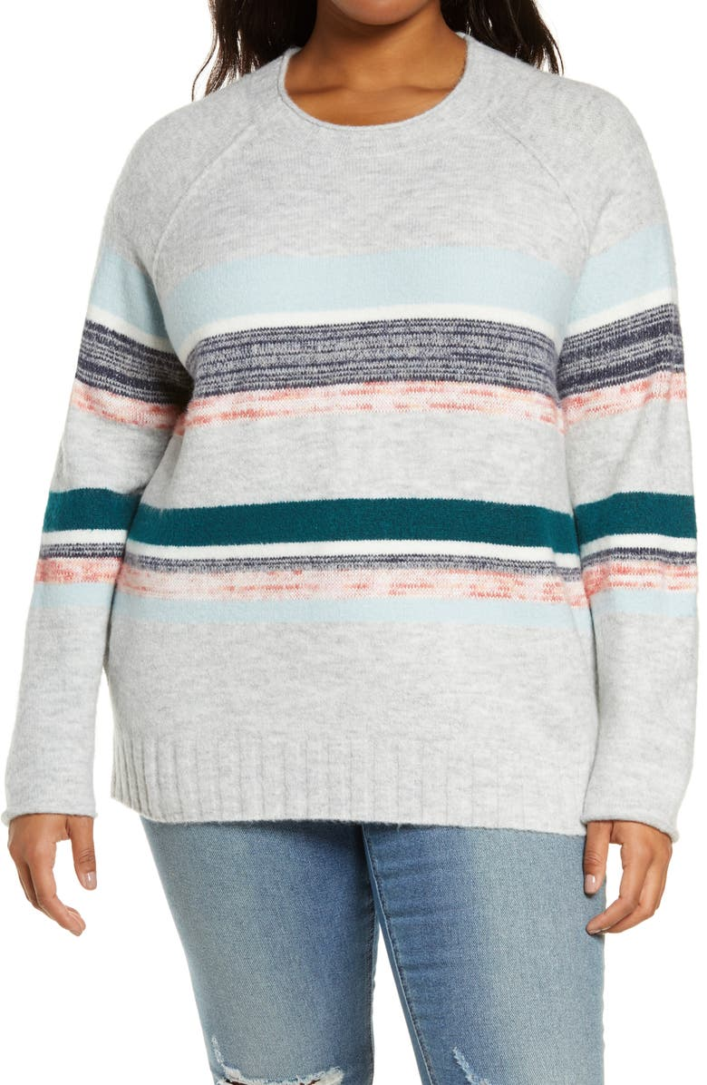 CASLON<SUP>®</SUP> Cozy Mix Stripe Crewneck Sweater, Main, color, 030