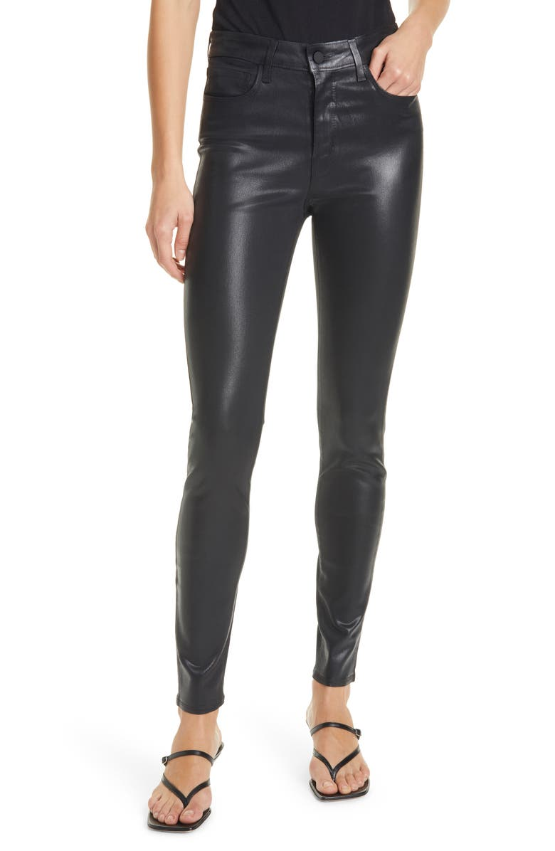 L'AGENCE Marguerite Coated High Waist Skinny Jeans, Main, color, BLACK COATED