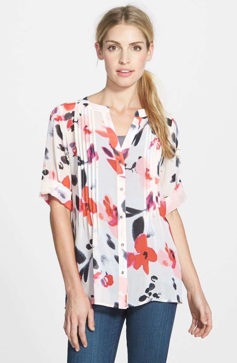 CHAUS 'Fanciful Floral' Roll Sleeve Pintuck Blouse, Main, color, BLUSH GLAZE
