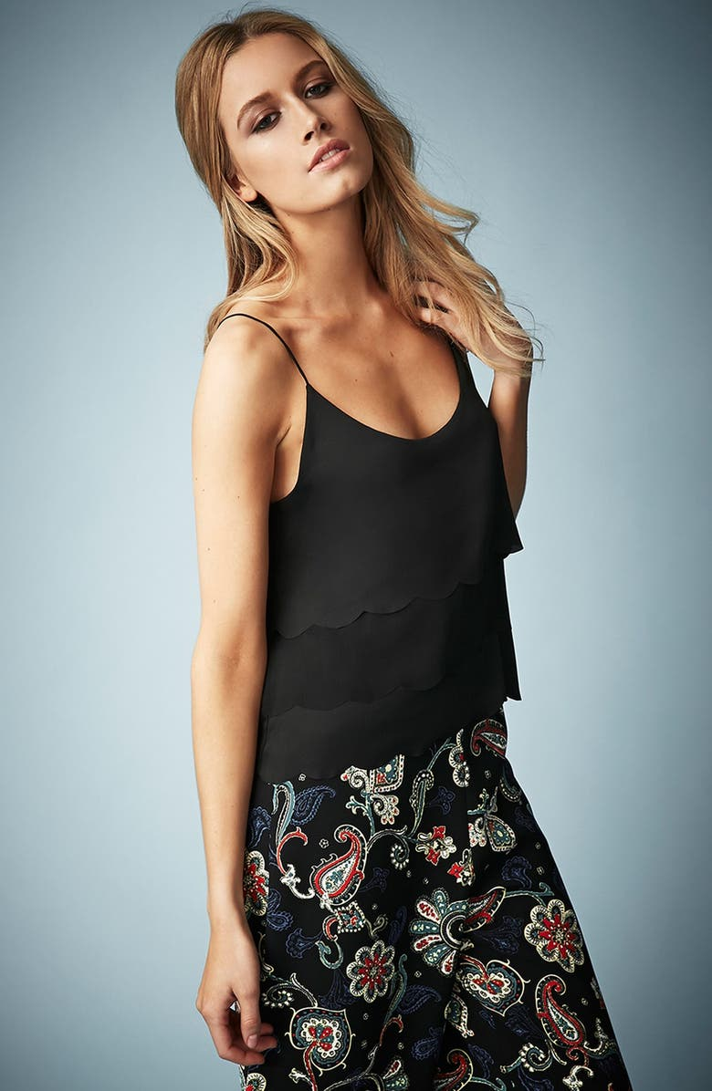 TOPSHOP Kate Moss for Topshop Scalloped Camisole, Main, color, Black