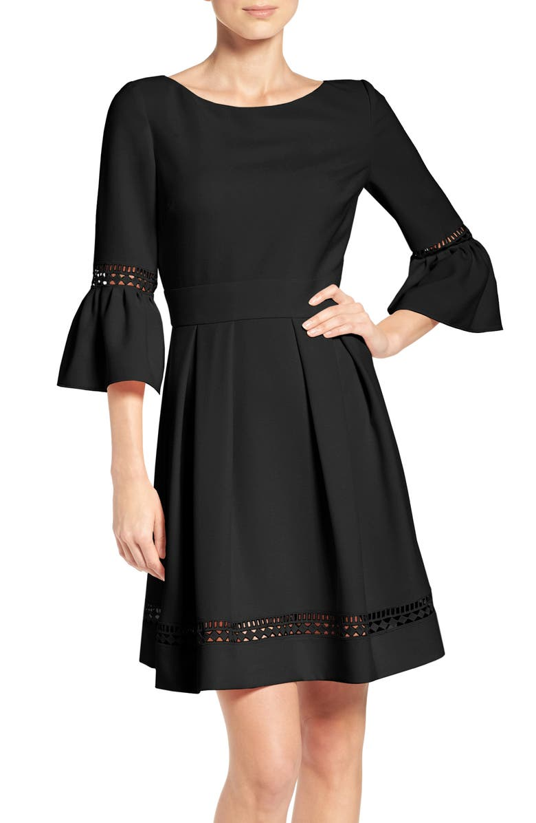 ELIZA J Bell Sleeve Lace Inset Fit & Flare Dress, Main, color, Black