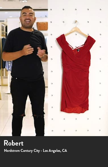 Off the Shoulder Jersey Ruched Sheath Minidress, sales video thumbnail
