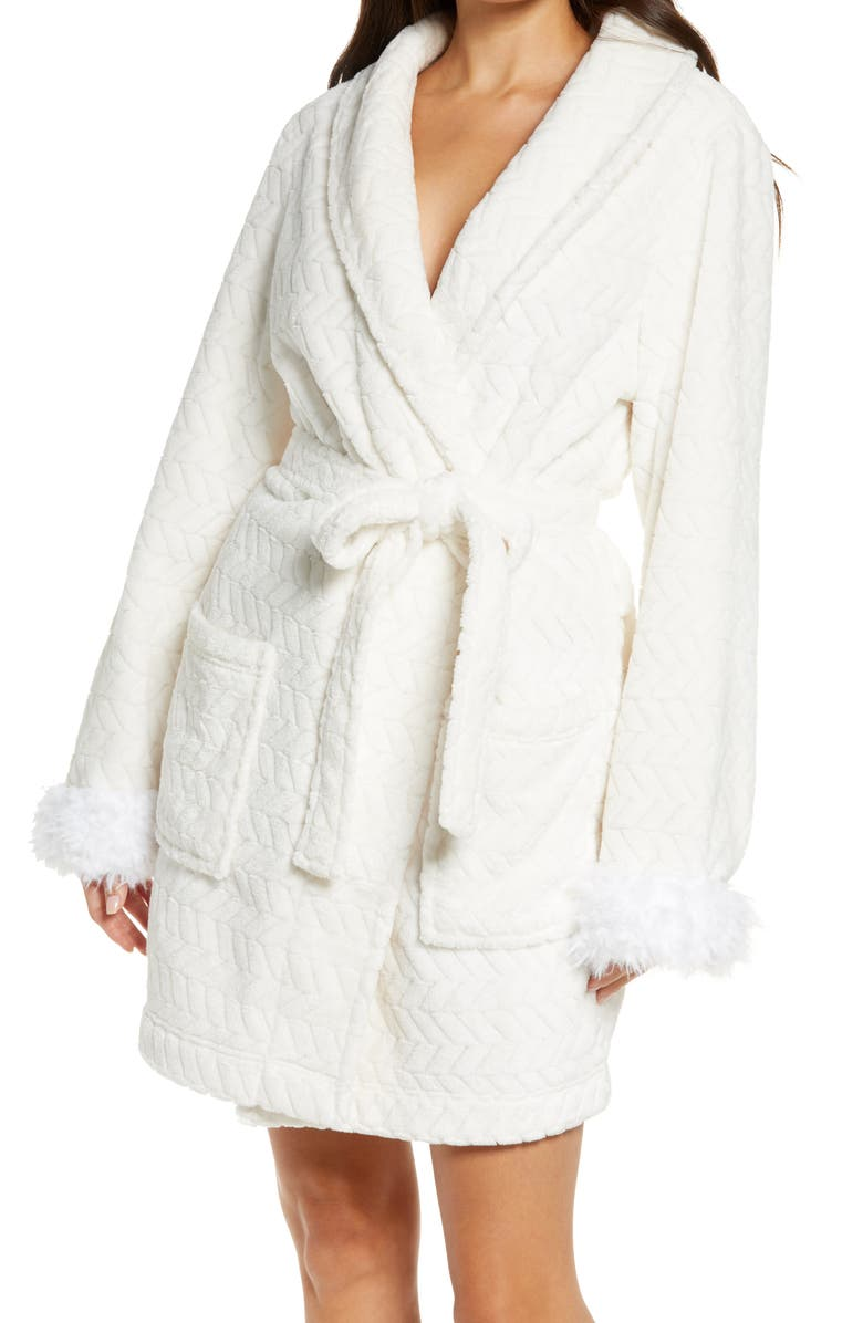 HONEYDEW INTIMATES Chilled Out Robe with Faux Fur Trim, Main, color, IVORY