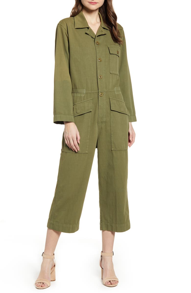 CURRENT/ELLIOTT The Richland Cotton & Linen Jumpsuit, Main, color, 400