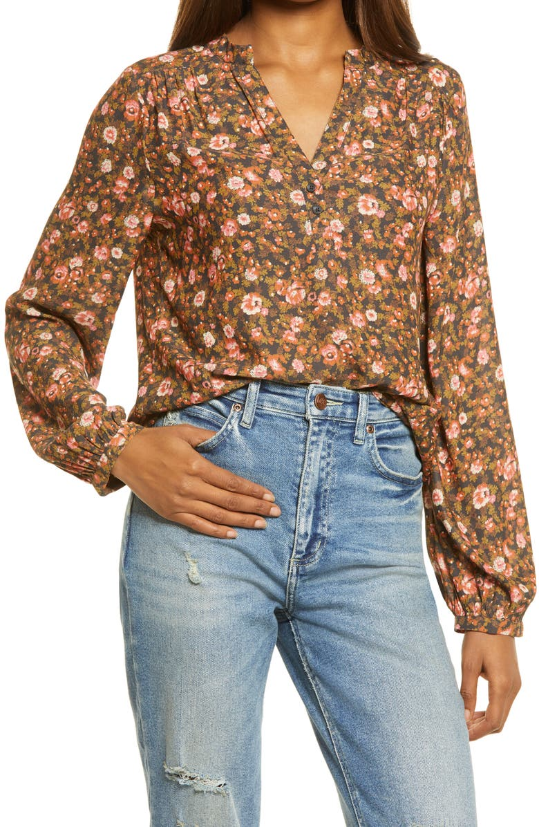 TREASURE & BOND Shirred Popover Top, Main, color, BROWN- PINK SONJA FLORAL