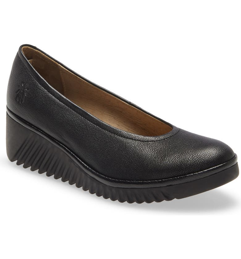 FLY LONDON Leny Wedge Pump, Main, color, BLACK LEATHER