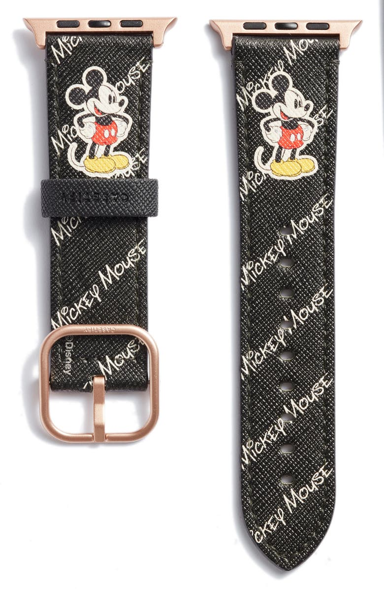 CASETIFY Disney x CASETiFY Mickey Saffiano Faux Leather Apple Watch<sup>®</sup> Band, Main, color, BLACK