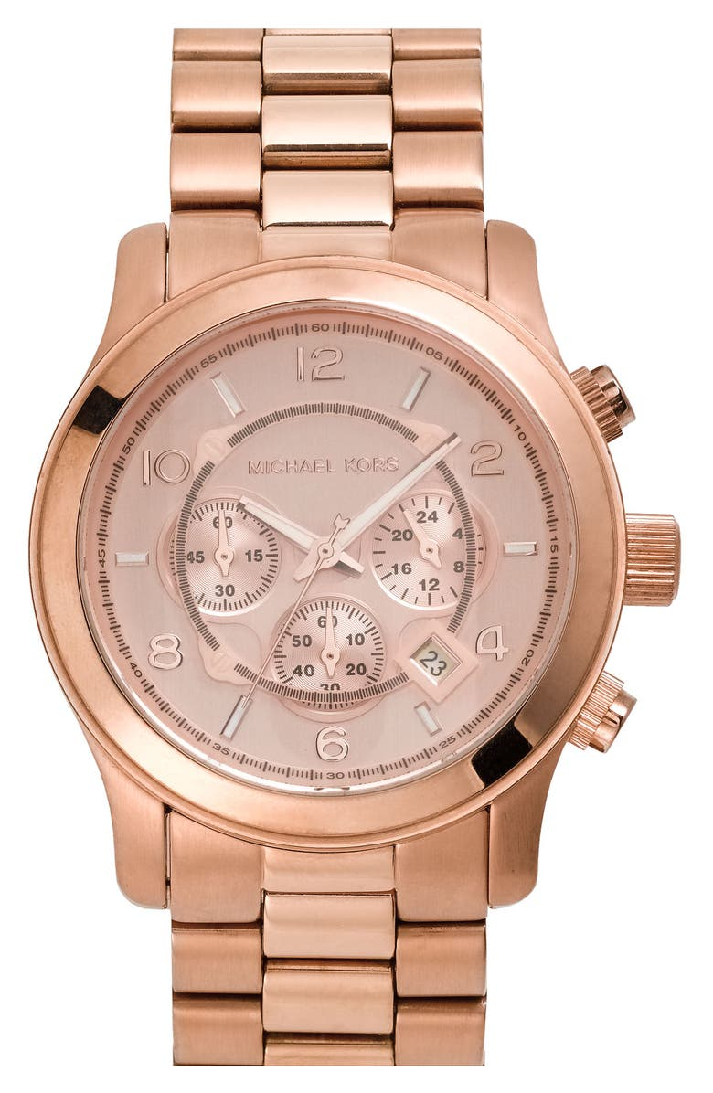 MICHAEL KORS 'Large Runway' Rose Gold Plated Watch, 45mm, Main, color, 710
