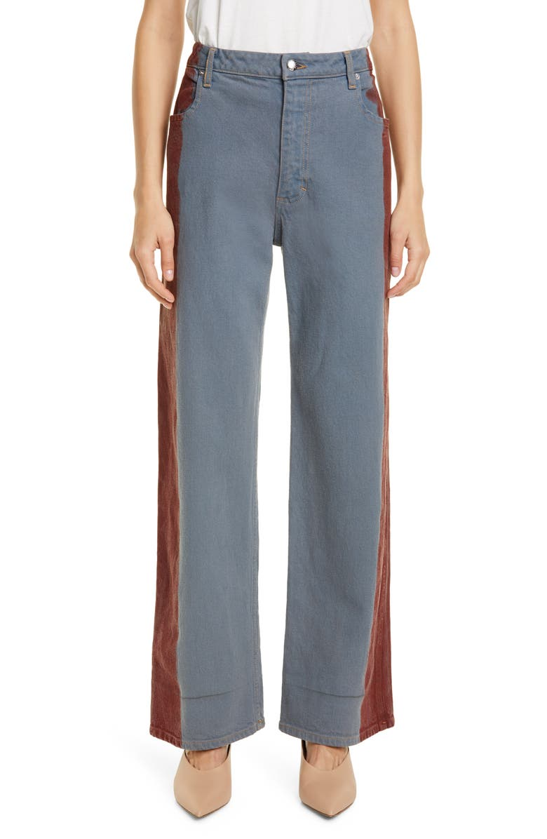 ECKHAUS LATTA Side Stripe Wide Leg Jeans, Main, color, 020