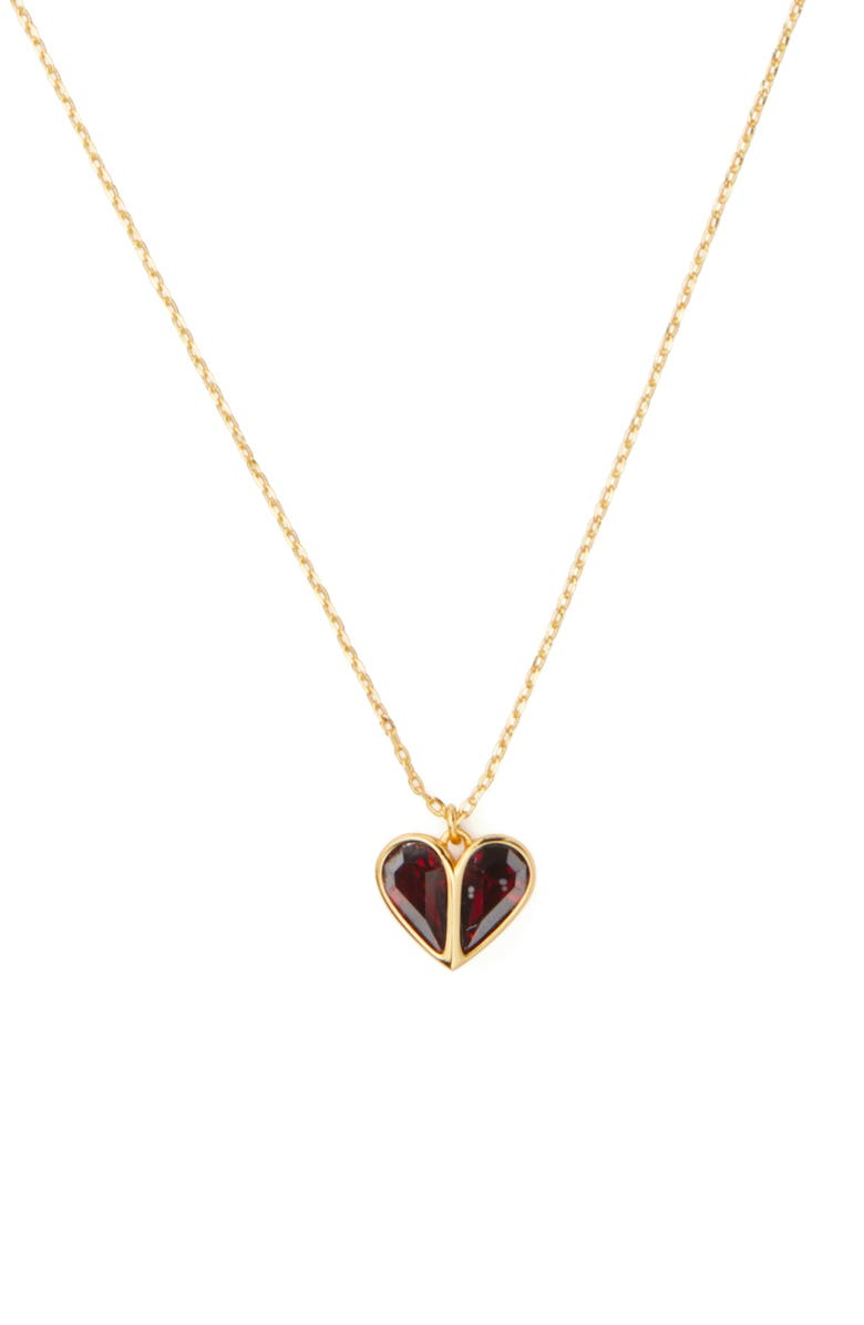 KATE SPADE NEW YORK rock solid mini heart pendant necklace, Main, color, 600