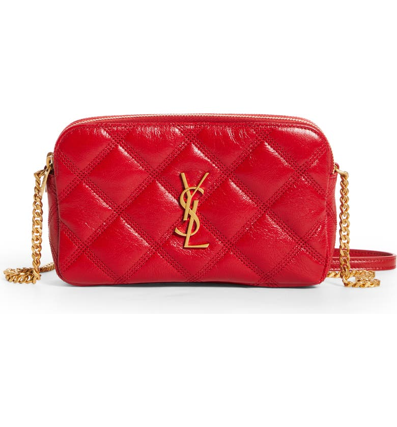 SAINT LAURENT Becky Diamond Quilted Leather Camera Bag, Main, color, ROUGE EROS